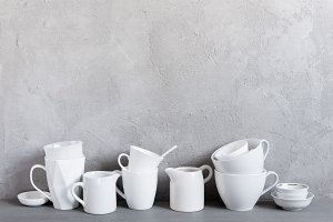 Background with white crockery