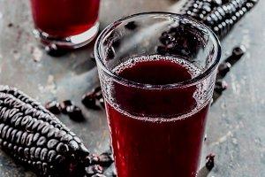 PERUVIAN PURPLE CORN DRINK. Chicha morada purple sweet traditional peruvian corn drink.