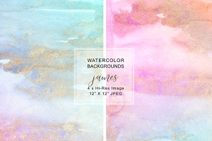 Watercolor Glittered Backgrounds