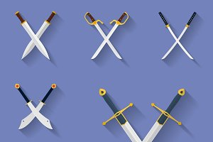 Icon set of ancient swords.