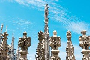 White marble statues on Duomo