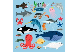 Sea Animals. Vector underwater animal creatures and fish in sea, swordfish and langoustine, ocean turtle and starfish