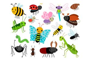 Cartoon insects. Vector cute insect collection, fly and ladybug, mantis and wasp, bug and beetle isolated on white