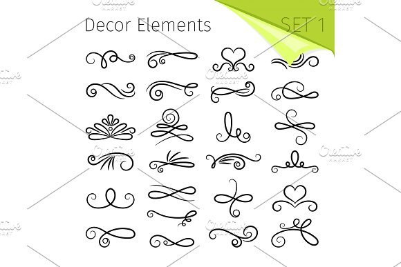 Calligraphy Scroll Elements Decorative Retro Flourish Swirled Vector Elements For Letters Simple Swirling Decors