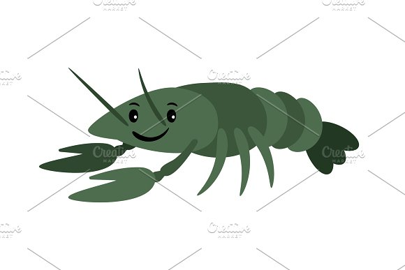 Crayfish Vector Delicacy River Lobster Langoustine Or Spiny Lobster Or Crustacean Delicacies Isolated