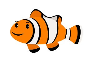 Clown fish. Underwater swimming funny smiling clownfish or anemonefish isolated on white