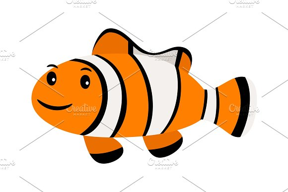 Clown Fish Underwater Swimming Funny Smiling Clownfish Or Anemonefish Isolated On White
