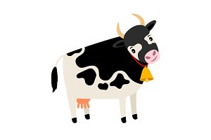 Cute cow. Dairy cow with bell isolated on white funny cartoon vector character