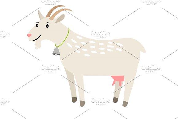 Goat Happy White Vector Goat Pet Isolated On White Farm Smiling Mascot