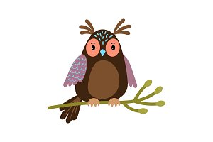 Vector Owl. Cartoon cute owl on tree branch illustration isolated on white