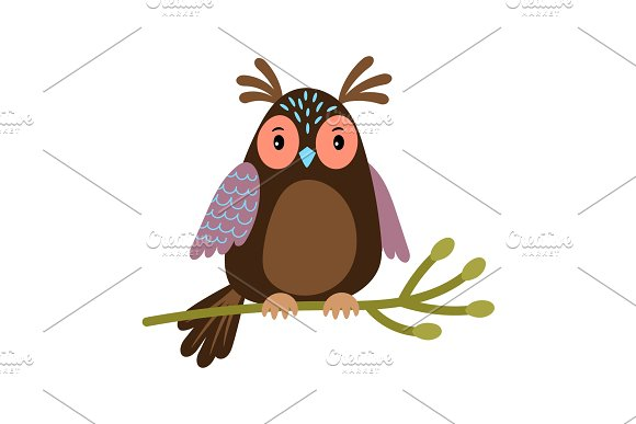 Vector Owl Cartoon Cute Owl On Tree Branch Illustration Isolated On White