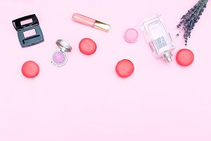 Set of cosmetics. Copy space