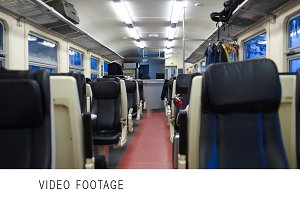 Empty carriage of moving train