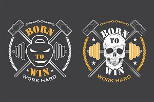 Workout and Fitness emblems set