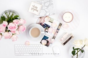Coffee & Roses Flatlay, Pink & Gold