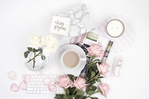 Pink Roses & Coffee Flatlay