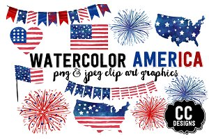 Watercolor USA illustration Clip Art