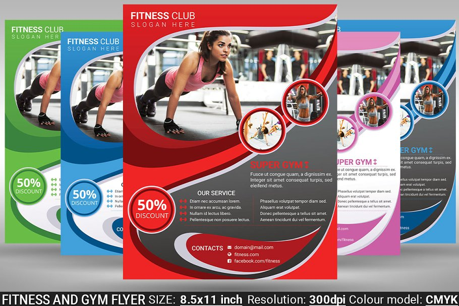 Fitness And Gym Flyer Poster Flyer Templates Creative Market