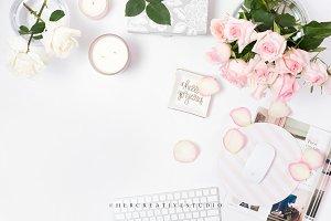Pink Roses Styled Desktop, Flatlay