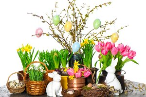 Easter decoration bunny and eggs