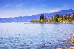 Blue lake Garda in Bardolino