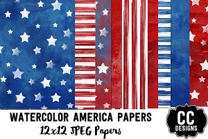 Watercolor America Digital Papers