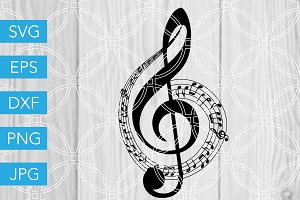 Music Note Treble Clef SVG Cut File
