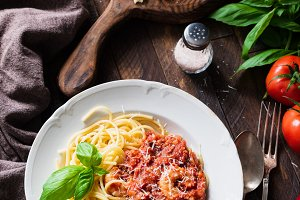 Pasta with tomato sauce and shrimps