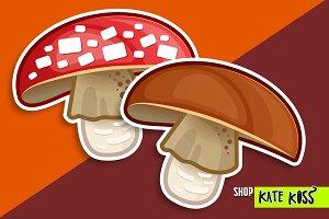 Mushroom set vector illustration