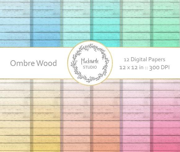 Ombre Rustic Wood digital paper