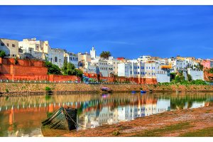 Cityscape of Azemmour on the bank of Oum Er-Rbia River in Morocco
