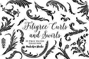 Filigree Curls and Swirls Vector Set