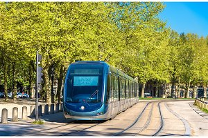 Tram on Quinconces Square in Bordeaux, France