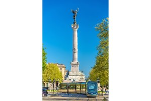 Tram near the Monument aux Girondins in Bordeaux, France