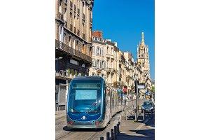City tram on Cours Pasteur street in Bordeaux, France