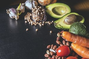 healthy fresh food balanced diet copy space on a dark black surface
