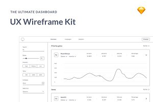 Dashboards UX Wireframes kit