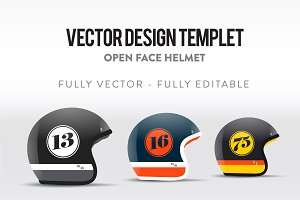 Open Face Helmet - Vector Templet