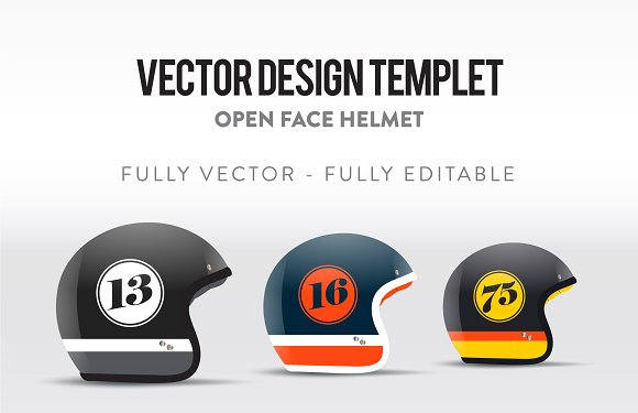Open Face Helmet Vector Templet