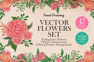 Hand drawing flower vector set