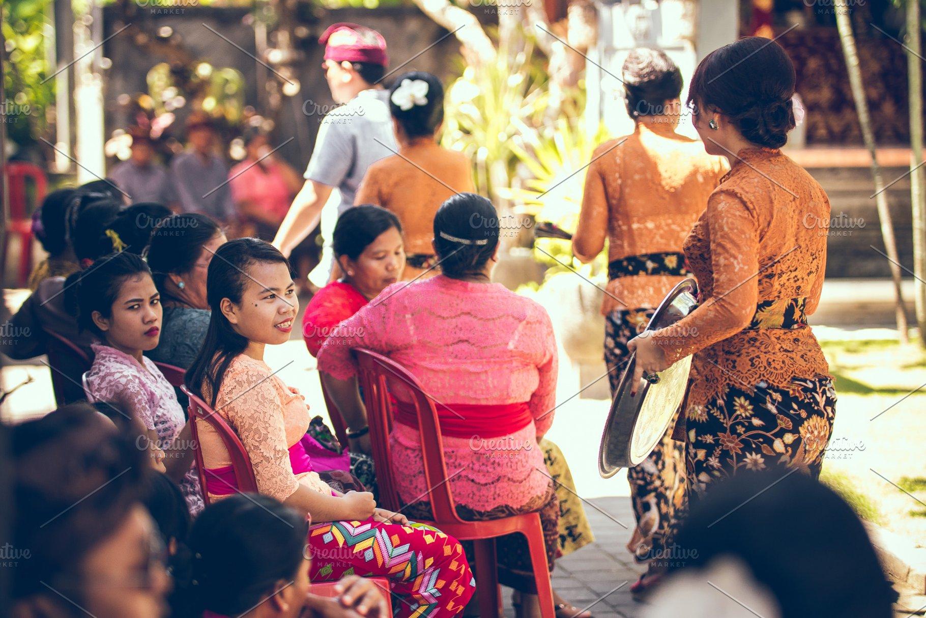 Wedding Ceremony Traditional.Bali Indonesia April 13 2018 People On Balinese Wedding Ceremony Traditional Wedding