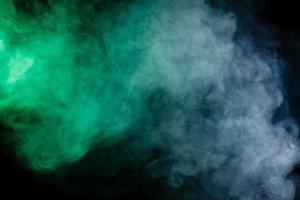 Abstract blue-green smoke hookah.