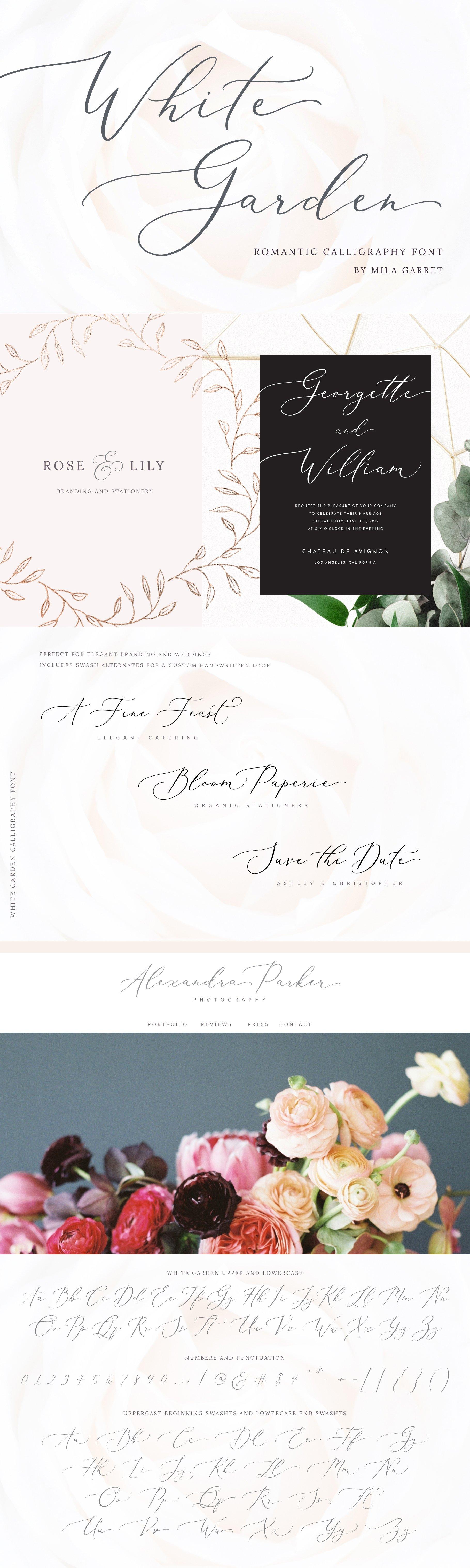 White Garden Calligraphy Logo Font ~ Script Fonts ~ Creative Market
