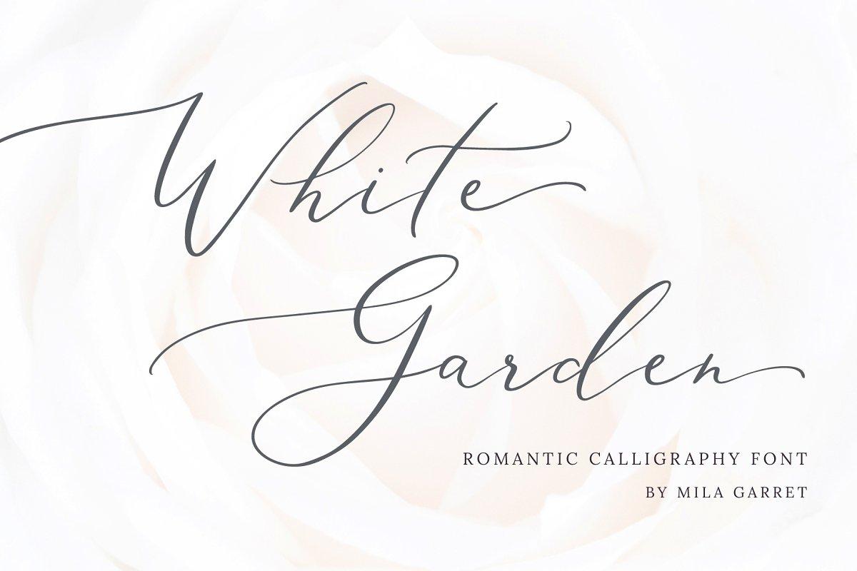 Wedding Scripts Fonts.White Garden Calligraphy Logo Font Script Fonts Creative