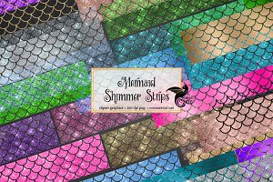 Mermaid Shimmer Strips Clipart
