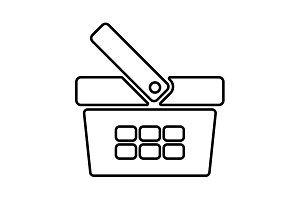 Shopping basket line icon - vector