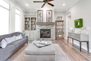 Bright Fireplace with Wood Mantel