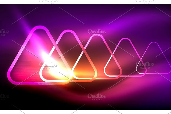 Glowing vector triangle geometric shapes in dark space in Textures