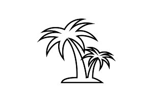palm tropical tree line icon
