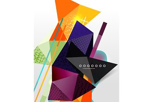 Abstract geometric background, polygonal triangle elements, lines and material textures, holographic elements